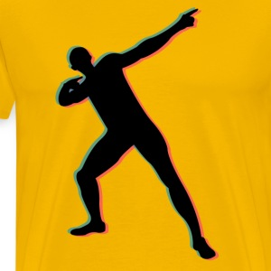 Usian Bolt in 3D T-shirts - Mannen Premium T-shirt