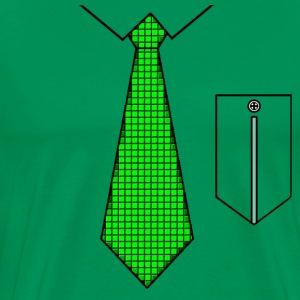 Green tie with pocket T-shirts - Herre premium T-shirt