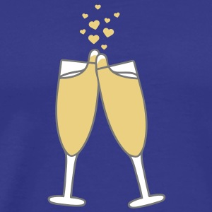 champagne_with_hearts T-shirts - Mannen Premium T-shirt