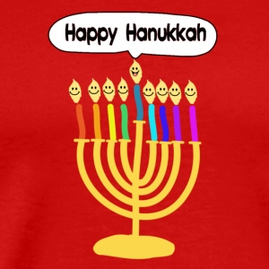 Happy Hanukkah cute cartoon smiley menorah T-Shirts - Men's Premium T-Shirt