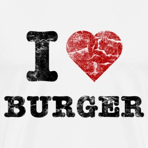i love burger vintage dark T-Shirts - Men's Premium T-Shirt
