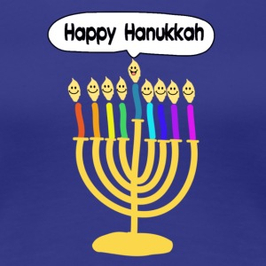 Happy Hanukkah cute cartoon smiley menorah T-Shirts - Women's Premium T-Shirt