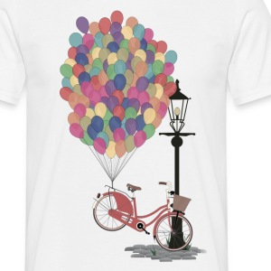 Wit Love to Ride my Bike with Balloons T-shirts - Mannen T-shirt