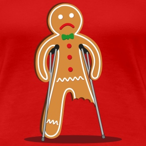 gingerbread man hurt (red) T-Shirts - Women's Premium T-Shirt