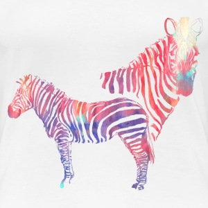 Colourful Zebras - Marbled Effect T-Shirts - Women's Premium T-Shirt