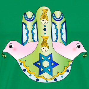 Jewish Chamsa with magen david and peace doves T-Shirts - Men's Premium T-Shirt