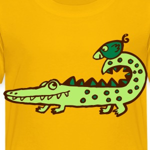 crocodile and bird - Kinder Premium T-Shirt