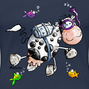 Diving Cow Cartoon Shirt T-Shirts - Women's Premium T-Shirt