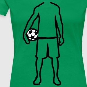 joueur foot soccer player trace dessin1 Tee shirts - T-shirt Premium Femme
