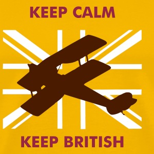 Keep Calm Keep British Biplaneand Union Flag - Men's Premium T-Shirt