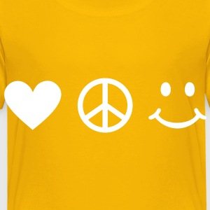 BE HAPPY - Love Peace Happiness Heart Sign Smiley T-shirts - Børne premium T-shirt