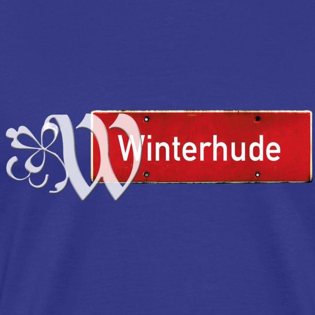 Hamburg-Winterhude, Ortsschild rot mit Schmuckbuchstaben