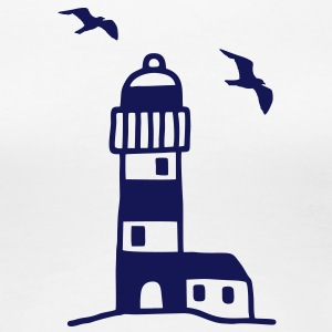 Lighthouse with seagulls T-Shirts - Women's Premium T-Shirt