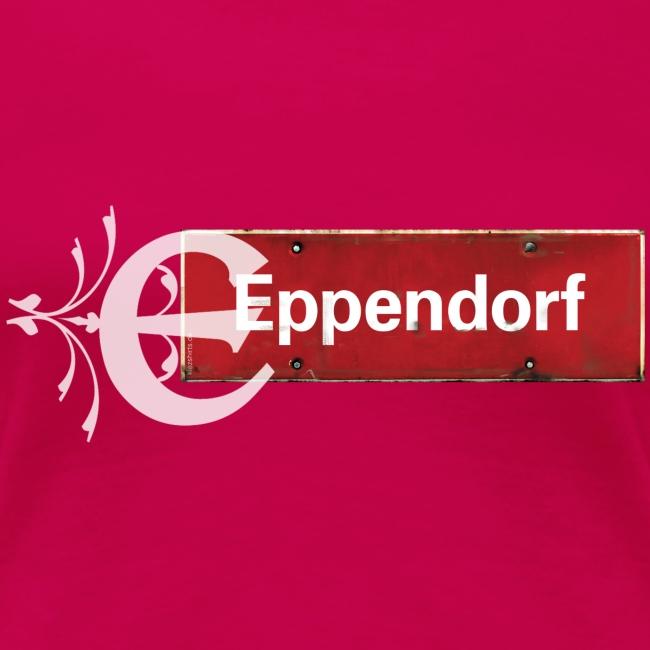 Hamburg-Eppendorf Ortsschild rot mit Schmuckbuchstaben