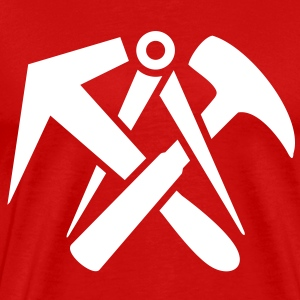 Roofers guild signs hammer tool logo T-Shirts - Men's Premium T-Shirt