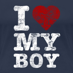 I Love my BOY vintage light T-shirts - Dame premium T-shirt