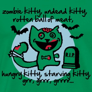 zombie kitty, undead kitty, rotten ball of meat... T-shirts - Mannen Premium T-shirt