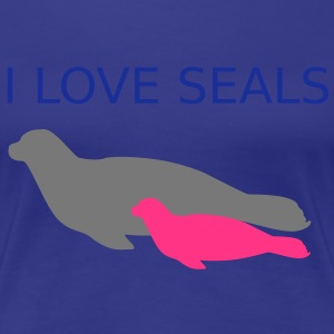 Ocean Seal with Calf Baby I Love Seals T-Shirts - Women's Premium T-Shirt