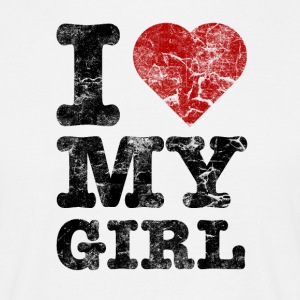 I Love my Girl vintage dark T-shirts - Mannen T-shirt