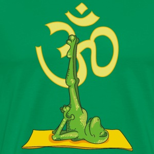 The frog practices the shoulder stand and sing OM T-Shirts - Men's Premium T-Shirt
