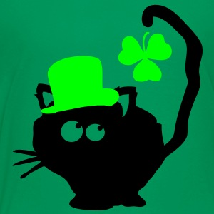 Cat in green hat lucky charm st.Patrick's day Clas - Teenage Premium T-Shirt