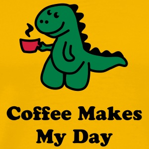 Coffee Makes My Day t rex cute tea i love dinosaur Magliette - Maglietta Premium da uomo