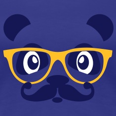 nerd panda with moustache and glasses T-Shirts