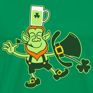 Leprechaun Balancing a Glass of Beer on his Head T - Men's Premium T-Shirt