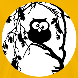 Funny owl sitting in the tree and has the moon in  T-Shirts - Men's Premium T-Shirt