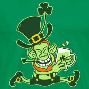 Green Leprechaun Running with Beer T-Shirts - Men's Premium T-Shirt