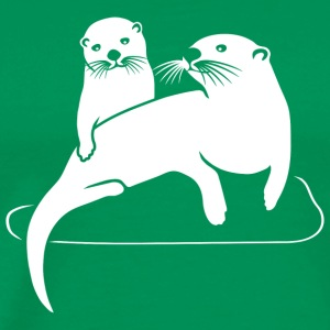 otter beaver fish sea lake river T-Shirts - Men's Premium T-Shirt