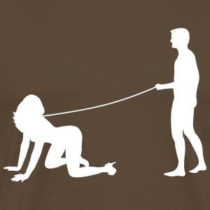 Man goes walkies with woman  T-Shirts - Men's Premium T-Shirt