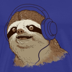Royal blue Sloth with headphones T-Shirts - Men's Premium T-Shirt