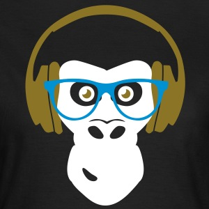 gorilla with headphones T-shirts - Dame-T-shirt