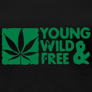 young wild and free weed leaf boxed T-Shirts - Frauen Premium T-Shirt
