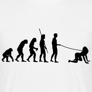 Evolutie van de mens gaat walkies  T-shirts - Mannen T-shirt