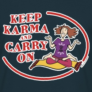 Keep Karma and Carry On (Dark Blue) - Men's T-Shirt