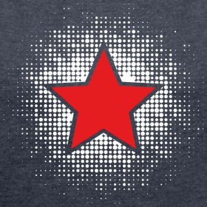 Star, Dots, Hero, Winner, Champion, Member, Team, T-Shirts - Women's T-shirt with rolled up sleeves