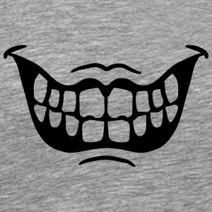 Grinning ugly evil horror mouth T-Shirts - Men's Premium T-Shirt