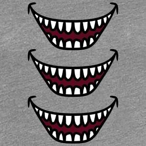 3 Ugly grinning laughing monster mouths T-Shirts - Women's Premium T-Shirt