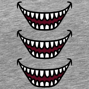 3 Ugly grinning laughing monster mouths T-Shirts - Men's Premium T-Shirt
