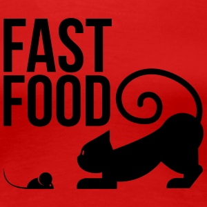 fast food - cat with mouse T-Shirts - Women's Premium T-Shirt