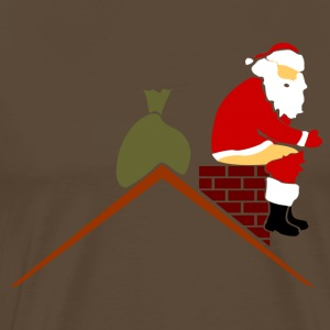 Santa Claus in chimney poops in color T-Shirts - Men's Premium T-Shirt
