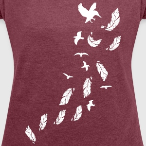 Flying birds Women's T-shirt with rolled up slee - Women's T-shirt with rolled up sleeves