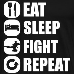 eat_sleep_fight_repeat_10_1f T-shirts - Mannen Premium T-shirt