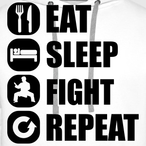 eat_sleep_fight_repeat_6_1f Hoodies & Sweatshirts - Men's Premium Hoodie