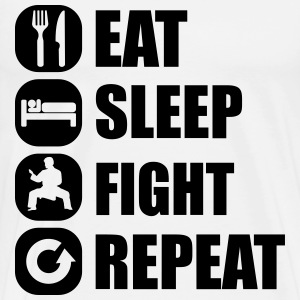 eat_sleep_fight_repeat_6_1f T-shirts - Premium-T-shirt herr