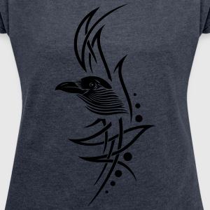 Krähe, crow, Tribal, Tattoo T-Shirts - Women's T-shirt with rolled up sleeves