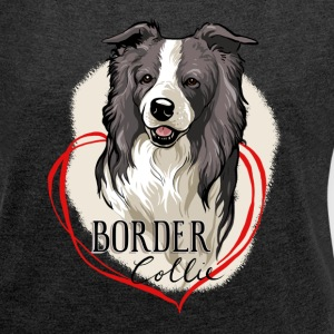 Border Collie T-Shirts - Frauen T-Shirt mit gerollten Ärmeln