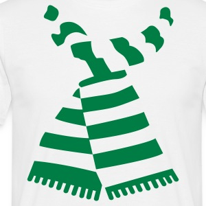 Scarf Print White Mens-T-Shirt With Stripes - Men's T-Shirt